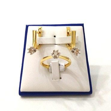 Новый комплект с бриллиантами, желтое золото цена 350$ в Бишкек