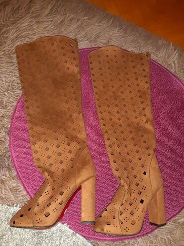 Zlatne sandalice perla br - Srbija: Letnje čizmice od prevrnute kože,NOVE,broj 37