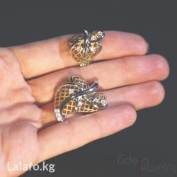 Серебро 925 пробы с позолотой.Продается отдельно. Кольцо размер 17. в Бишкек