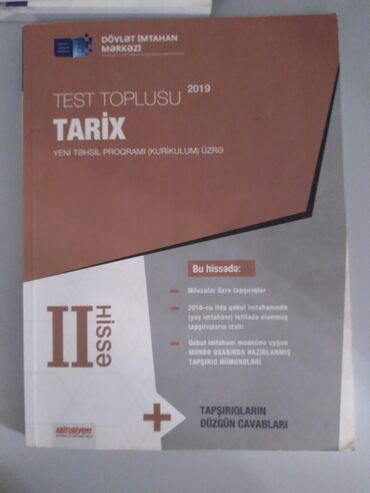 Tarix test toplusu 2ci hisse. Dim. Ici sade karandasla yazilib