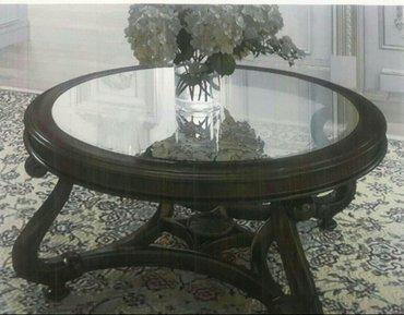 Стол круглый! материал - массив карагач! столешница - стекло 8мм. в Бишкек