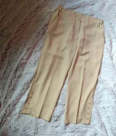 Pantalone cm - Srbija: Lanene zute pantalone, L vel. Poluobim struka 41-46 cm (gumiran