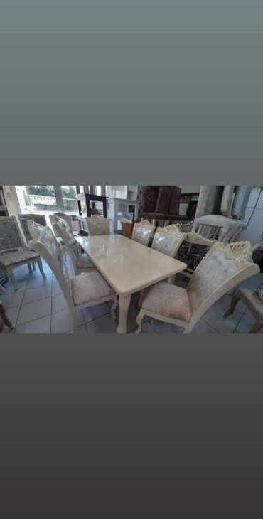 Masa destiyenidiracilan stol 6 eded oturacaqlastol.olcu 160 uzunu en