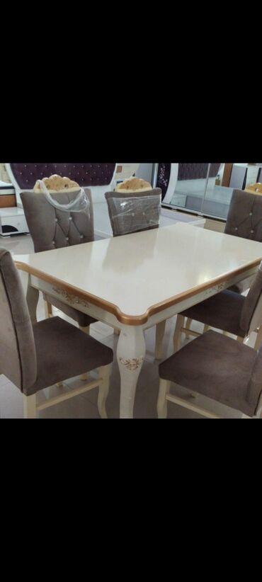 Yeni model masa destimiz 6 eded stulla.qiymət 580manat.upakofqadadir