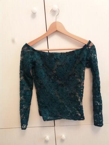 Zelena sljokicava cipkasta majica