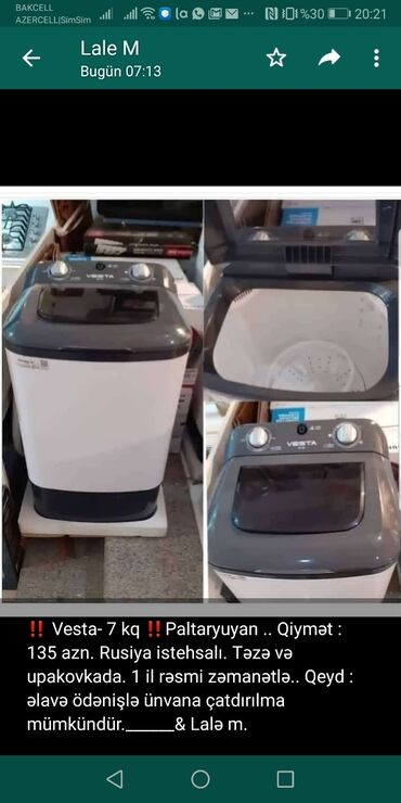 Yarımavtomat Washing Machine 7 kq