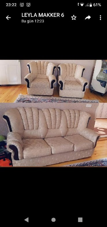 2 kreslo + divan satılır. Hec bir deffekti yoxdur. Açılır. Baza