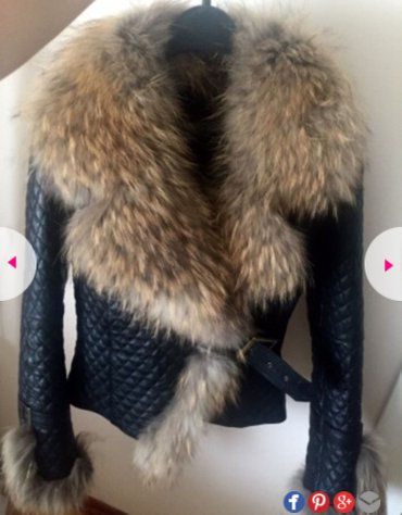 AKCIJAAAA. Kožna jakna sa prirodnim krznom rakuna. Sve info. na bro