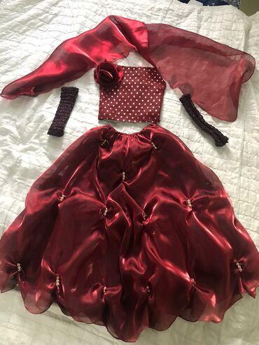 Вечернее платье детское, цвета марсала (бордовый). В комплекте юбка