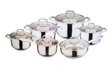 плита индукционная в Кыргызстан: Набор посуды Vicalina VL-3012 12 предметов- тип: набор кастрюль-