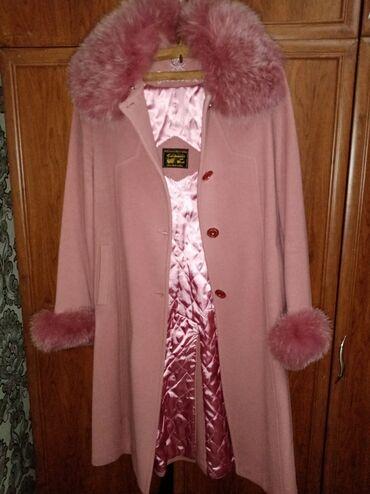 платье рубашка лен в Кыргызстан: Женское турецкое кашемировое пальто с натуральным мехом 46 размера. В