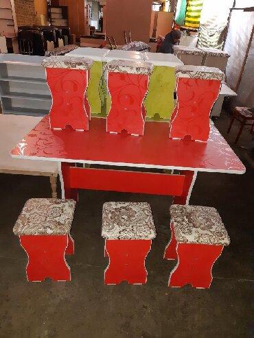 стол на кухню раскладной в Кыргызстан: Стол 6шт табуретка 4500+доставка Стол 4шт табуретка 3000сом+Доставка