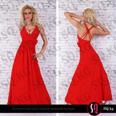 красное длинное платье в пол в Кыргызстан: Красное вечернее платье длинное в пол с розами  Материал: Полиэстер 95