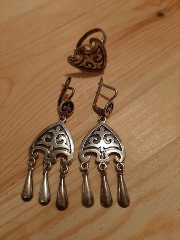 Комплект, серьги и кольцо в национальном стиле