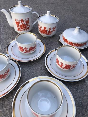 чашка с блюдцем в Кыргызстан: Чайный сервис Дулево! 4 блюдца с чашками, масленка, сахарница и