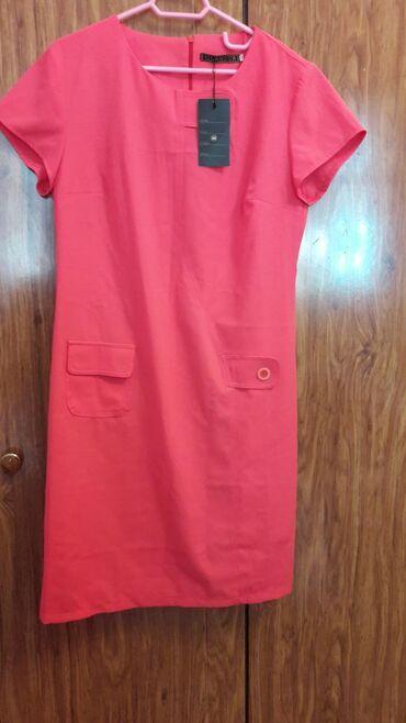 Платья - Состояние: Новый - Кок-Ой: Продаю новое платье нашего пошива.Размер 48.Цвет арбузный