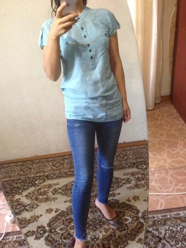 блузки с коротким рукавом в Кыргызстан: Легкая рубашка с коротким рукавомстоикий воротник размер S 42