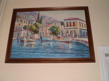 ΠΙΝΑΚΑΣ Κ. Νικόλαος θαλασσογραφία με βάρκες Στο Νησί, λάδι σε μουσαμά