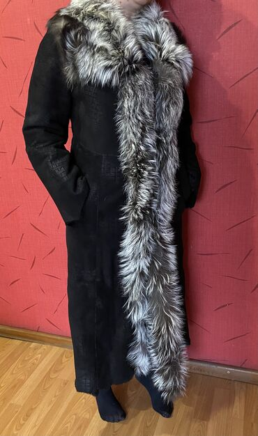 черное вышитое платье в Кыргызстан: Дублёнка (Турция). Натуральная овчина, мех - лиса-чернобурка. Надевал