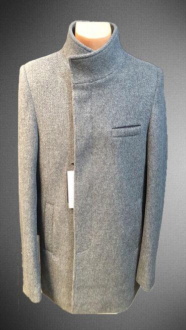 Стильное мужское пальто. Демисезонное. Цвет серый, размеры - 48, 50