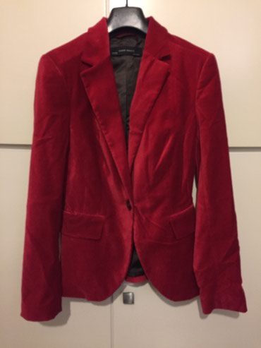 Βελούδινο κόκκινο γυναικείο σακάκι Zara . Aφόρετο . Νο Small  σε Rest of Attica