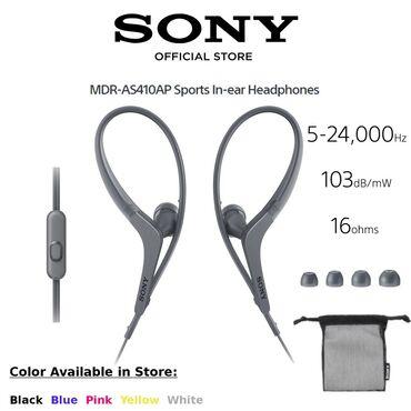 sony наушники в Кыргызстан: Наушники Sony MDR AS410AP спортивные черный 9-мм динамик обеспечивает
