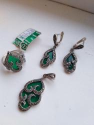серебряный комплект с красными камнями в Кыргызстан: Серебряный комплект, новый 2800с