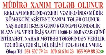 Bakı şəhərində təcili müdir köməkçisi asistent xanım tələb olunur reklam çap