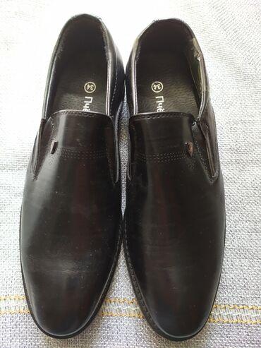 Туфли на мальчика на каблуке черные кожаные размер 34