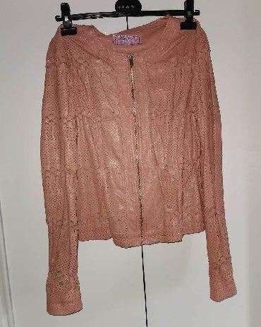 Kozna-tasna-sive-boje-placena- - Srbija: Kozna jakna roze boje vel. L