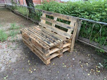 Продаю скамью из палетт для сада !!! Собран прочно и покрыт палубным