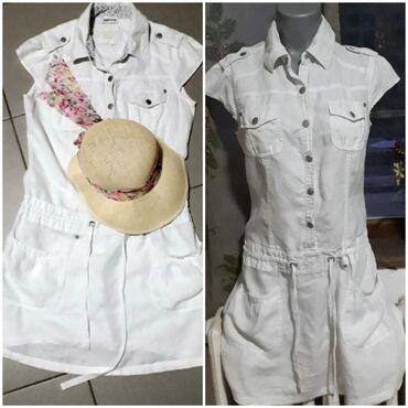 Haljina-s-i-obim-struka-cm - Srbija: Haljina vel 38Street One casual bela lanena haljina sa spuštenim