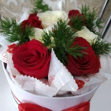 Цветы оформ в коробку принимаем в Бишкек