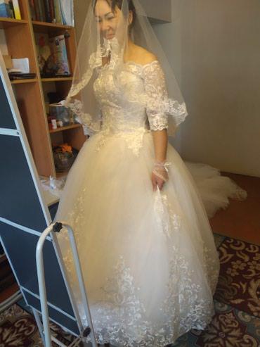 Свадебные платья - Кок-Ой: Продаю свадебное платье, одевала один раз. Корейское новое + перчатки