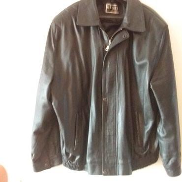 Куртка мужская б/у черная кожанная производство Турция размер 54-56 в Бишкек