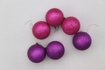 Дом и сад - Украина: Набір з ялинкових новорічних кульок (6 шт.)   Діаметр: 6 см  Стан гарн