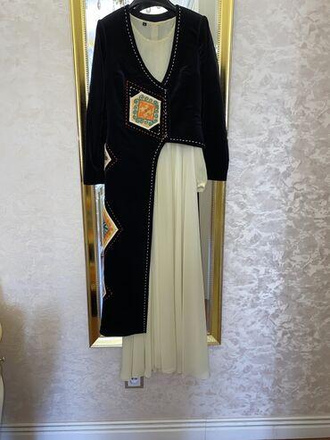 платья из панбархата на шифоне в Кыргызстан: Национальное платьеТкань платья шифонИ сверху накидкаРазмер SОдевала 1