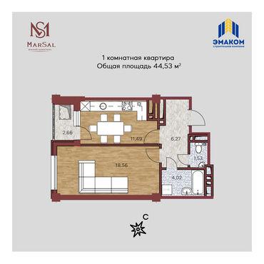 сдается квартира в городе кара балта в Кыргызстан: Продается квартира: 1 комната, 44 кв. м