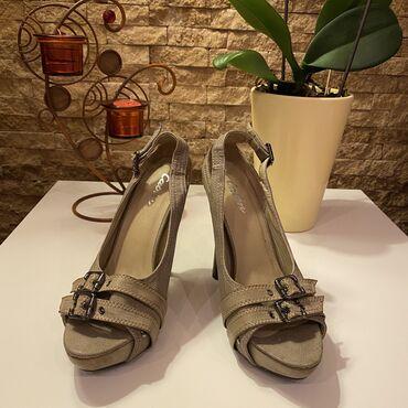 Ženska obuća   Beograd: TOTALNA RASPRODAJA!!!  Nove tamno krem teksas sandale na visoku stiklu