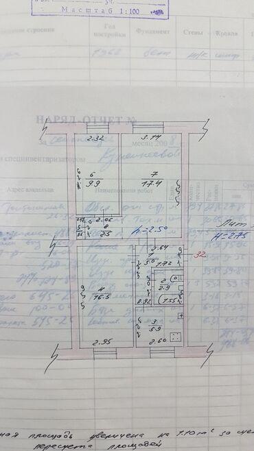 Продажа квартир - 3 комнаты - Бишкек: Хрущевка, 3 комнаты, 60 кв. м С мебелью, Не сдавалась квартирантам, Совмещенный санузел
