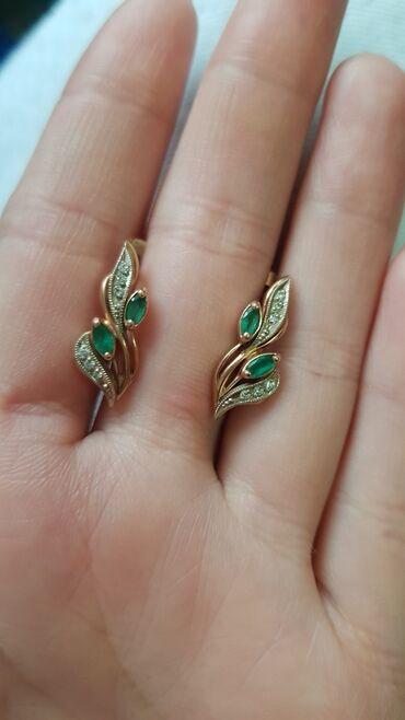 Бриллианты - Кыргызстан: Комплект! Бриллиант с изумрудным камнем. Размер кольца 18