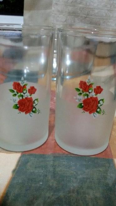 Стеклянные стаканы - Кыргызстан: Два милых стакана стаканчика для ваших деток. НОВЫЕ! Высота 10,5 см. Н