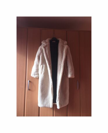 Ženski kaputi - Srbija: Teddy coat duži, prljavo bela boja, veoma topao i debeo, kupljen preko