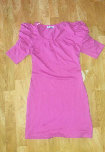 Haljine - Senta: Pink haljina sa puf rukavimaPamuk i elastin. Nekoriscen. Vel. Uni (