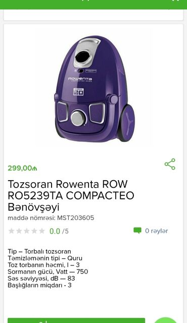 Tozsoran Rowenta Tam zəmanətlə Nəğd və 1 kartla ödənişEvdən birbaşa