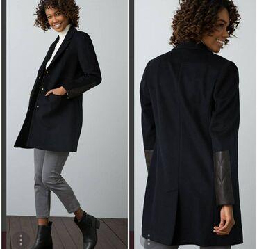 В наличии стильное Деми пальто с кожаными вставками от USPolo,оригинал