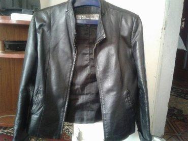 куртка пиджак женская кожаная состояние отличное размер46/48 цвет чёрн в Кок-Ой