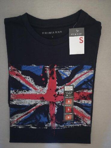 Men's T-shirts - Srbija: Muska majica, teget sa natpisom, marka Primark, velicina S, vrhunski