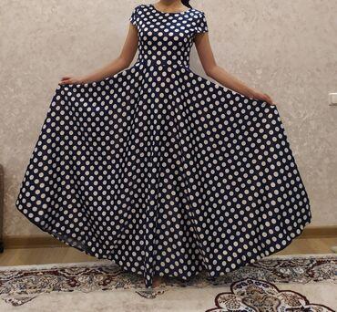 вечернее платье в горошек в Кыргызстан: ///ПРОДАЕТСЯ///Платье вечернее.Цвет: белый в черный горошек.Цена 2000
