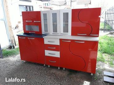 Kuhinja od medijapana `s` krila crveno-bela 2m gornji i donji delovi - Krusevac